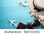 summer holiday background ... | Shutterstock . vector #563722102