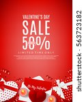 valentine's day sale flyer. top ... | Shutterstock .eps vector #563723182