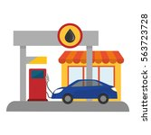 gas pump station gasoline or... | Shutterstock .eps vector #563723728