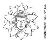 Buddha Head And Lotus Isolated...