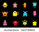 monster big set. cute cartoon... | Shutterstock .eps vector #563730832