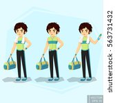 young fit man in sportswear ... | Shutterstock .eps vector #563731432