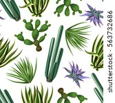 seamless pattern with cactuses... | Shutterstock .eps vector #563732686