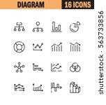 diagram flat icon set....   Shutterstock .eps vector #563733856