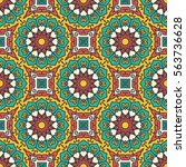 seamless pattern with ethnic... | Shutterstock .eps vector #563736628