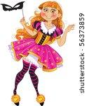 little girl in masquerade suit | Shutterstock .eps vector #56373859