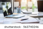 business desk with a keyboard ... | Shutterstock . vector #563740246