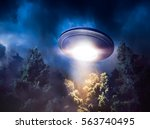 Low Key Image Of Ufo Hovering...