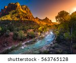 zion national park fall colors... | Shutterstock . vector #563765128