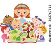 i let a baby read a picture book | Shutterstock .eps vector #563767516