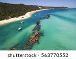 tangalooma wrecks from above | Shutterstock . vector #563770552