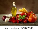 spaghetti ingredients | Shutterstock . vector #56377333