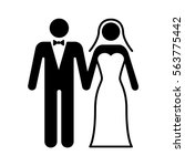 a couple getting married at a... | Shutterstock .eps vector #563775442