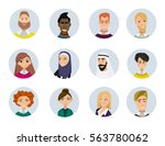 set of diverse round avatars... | Shutterstock .eps vector #563780062