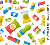 fast food snacks and drinks... | Shutterstock .eps vector #563795845