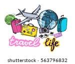 hand drawn travel illustration. ... | Shutterstock .eps vector #563796832