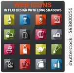 utensils for beverage icons set ... | Shutterstock .eps vector #563800255