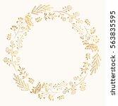 golden cute round frame. vector ...   Shutterstock .eps vector #563835595