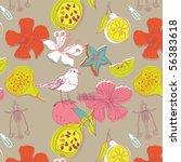 fruit and flower seamless... | Shutterstock .eps vector #56383618