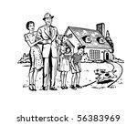 Happy Family   Retro Clip Art