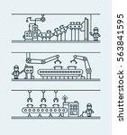 line art conveyor system in... | Shutterstock .eps vector #563841595