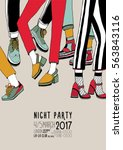 night party hand  drawn... | Shutterstock .eps vector #563843116