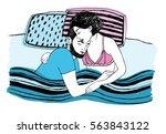 romantic happy sleeping couple... | Shutterstock .eps vector #563843122