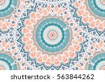 Stock vector hand drawn mandala seamless pattern arabic indian turkish and ottoman culture decoration style 563844262