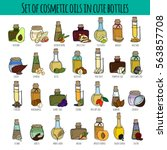 set of hand drawn bottles with... | Shutterstock .eps vector #563857708