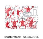 hand paint watercolor stick... | Shutterstock . vector #563860216