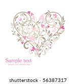 beautiful card with heart | Shutterstock .eps vector #56387317