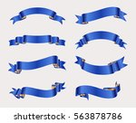 collection of blue ribbons... | Shutterstock .eps vector #563878786