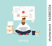 young man working at the office ... | Shutterstock .eps vector #563882326