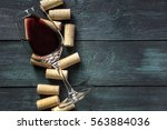 a glass of red wine and wine... | Shutterstock . vector #563884036