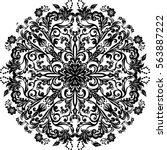 illustration with black mandala ... | Shutterstock .eps vector #563887222