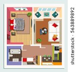top view apartment interior... | Shutterstock .eps vector #563889892