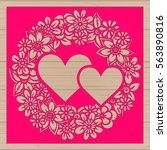 die cut card. laser cut vector... | Shutterstock .eps vector #563890816