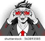wow pop art face. young... | Shutterstock .eps vector #563893585