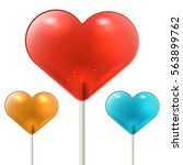 red heart shaped lollipop on... | Shutterstock .eps vector #563899762