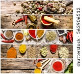 food collage of herb and spice. | Shutterstock . vector #563906512