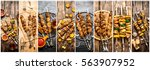 food collage of shish kebab . | Shutterstock . vector #563907952
