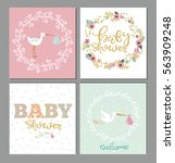 set of baby shower cute card.... | Shutterstock .eps vector #563909248