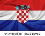croatia flag with fabric... | Shutterstock . vector #563910982