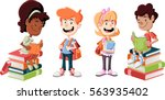cute cartoon children with... | Shutterstock .eps vector #563935402
