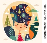girl with abstract hairstyle | Shutterstock .eps vector #563945686