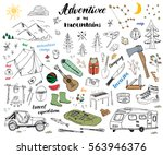 camping  hiking hand drawn... | Shutterstock .eps vector #563946376