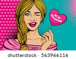 pop art face. young sexy blonde ... | Shutterstock .eps vector #563966116