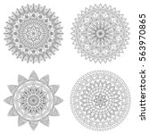 set of floral mandalas  vector... | Shutterstock .eps vector #563970865