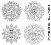 set of floral mandalas  vector... | Shutterstock .eps vector #563970865