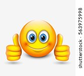 cute emoticon with thumbs up ... | Shutterstock .eps vector #563975998